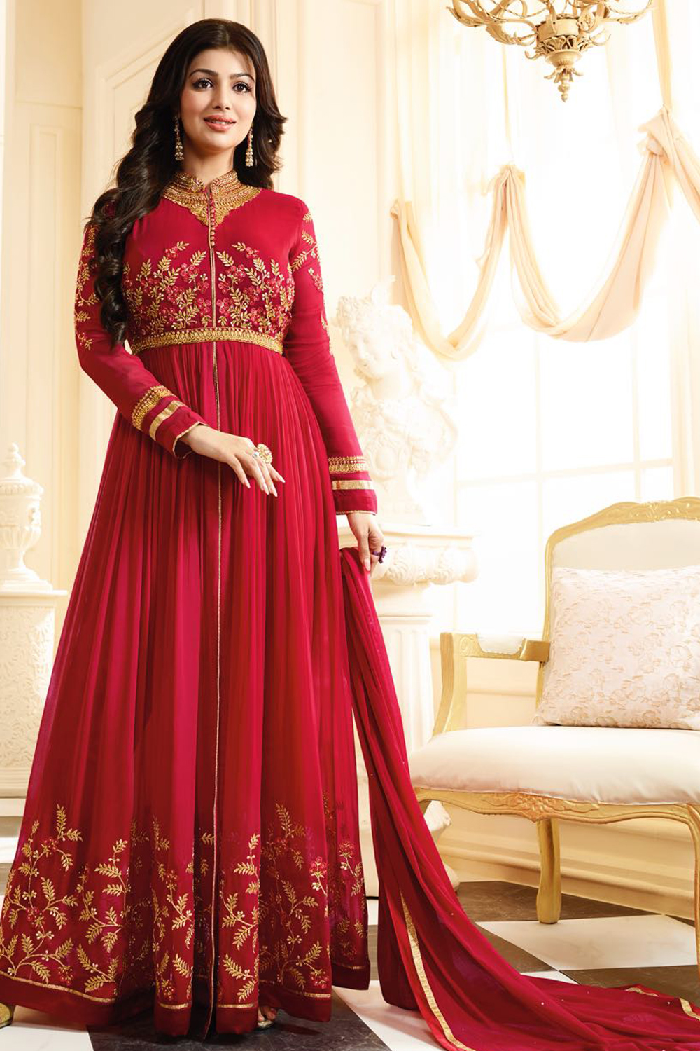 Ayesha Takia Designer  Georgette Red Embroidered  Semi Stitched Long Anarkali Suit