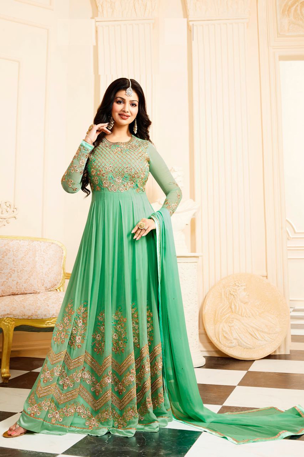 Ayesha Takia Designer Georgette Green Embroidered Semi Stitched Long Anarkali Suit