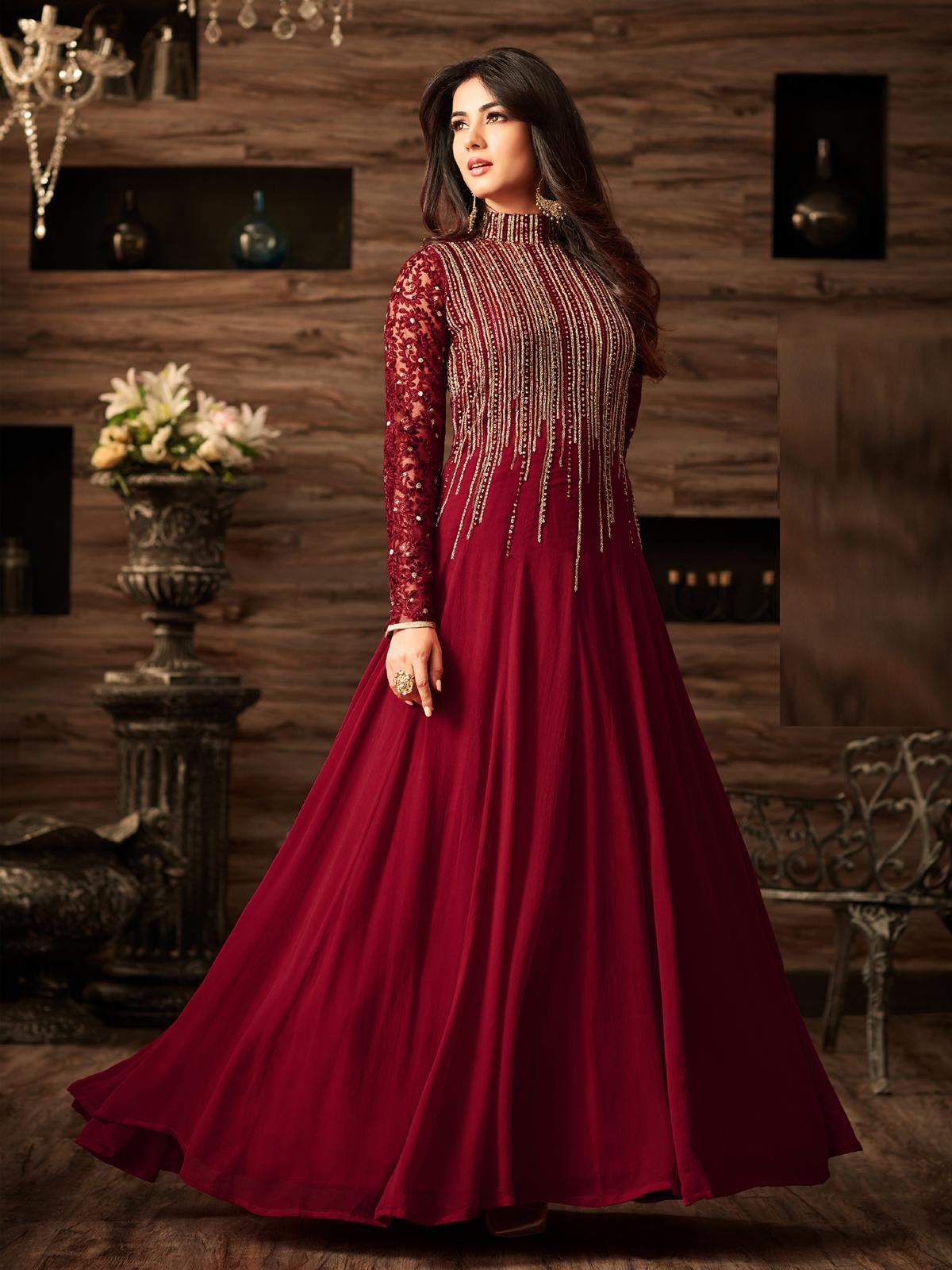 sonal chauhan Georgette Maroon Anarkali Suit In Wine Colour