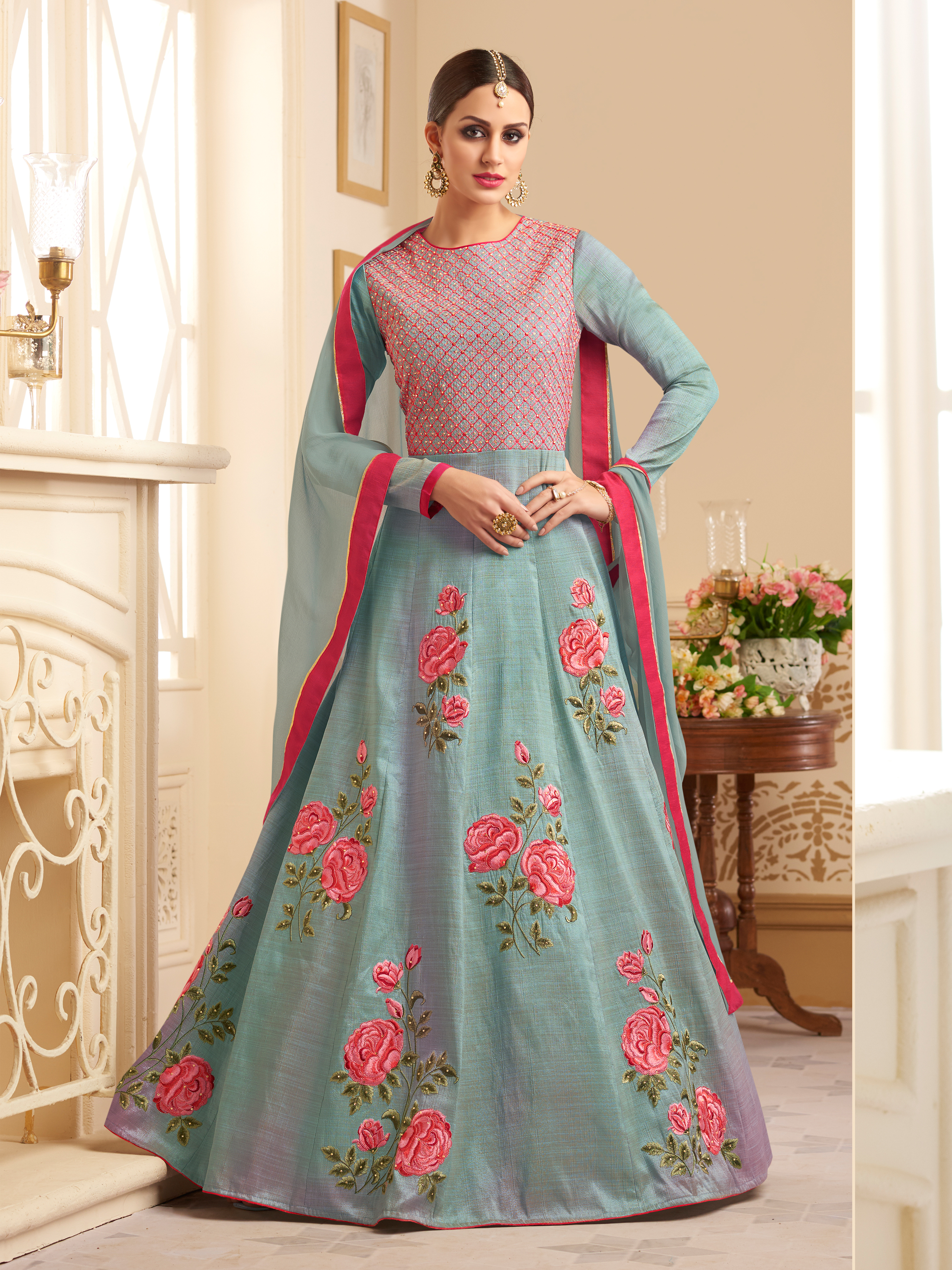 Designer Faux Georgette Turqoise Heavy Embroidered Salwar Suit