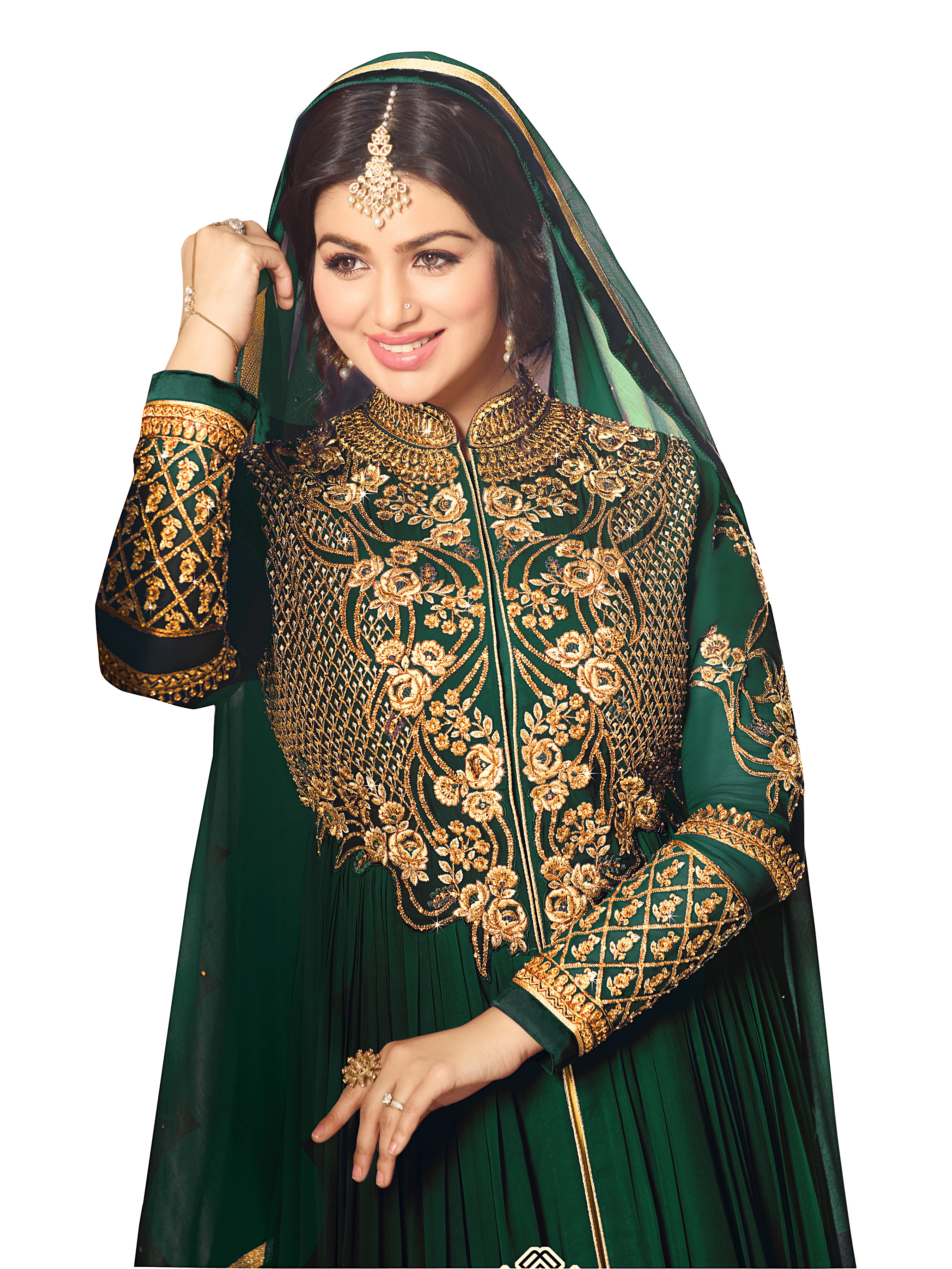 Ayesha Takia Designer Faux Georgette Wine Heavy Embroidered Salwar Suit