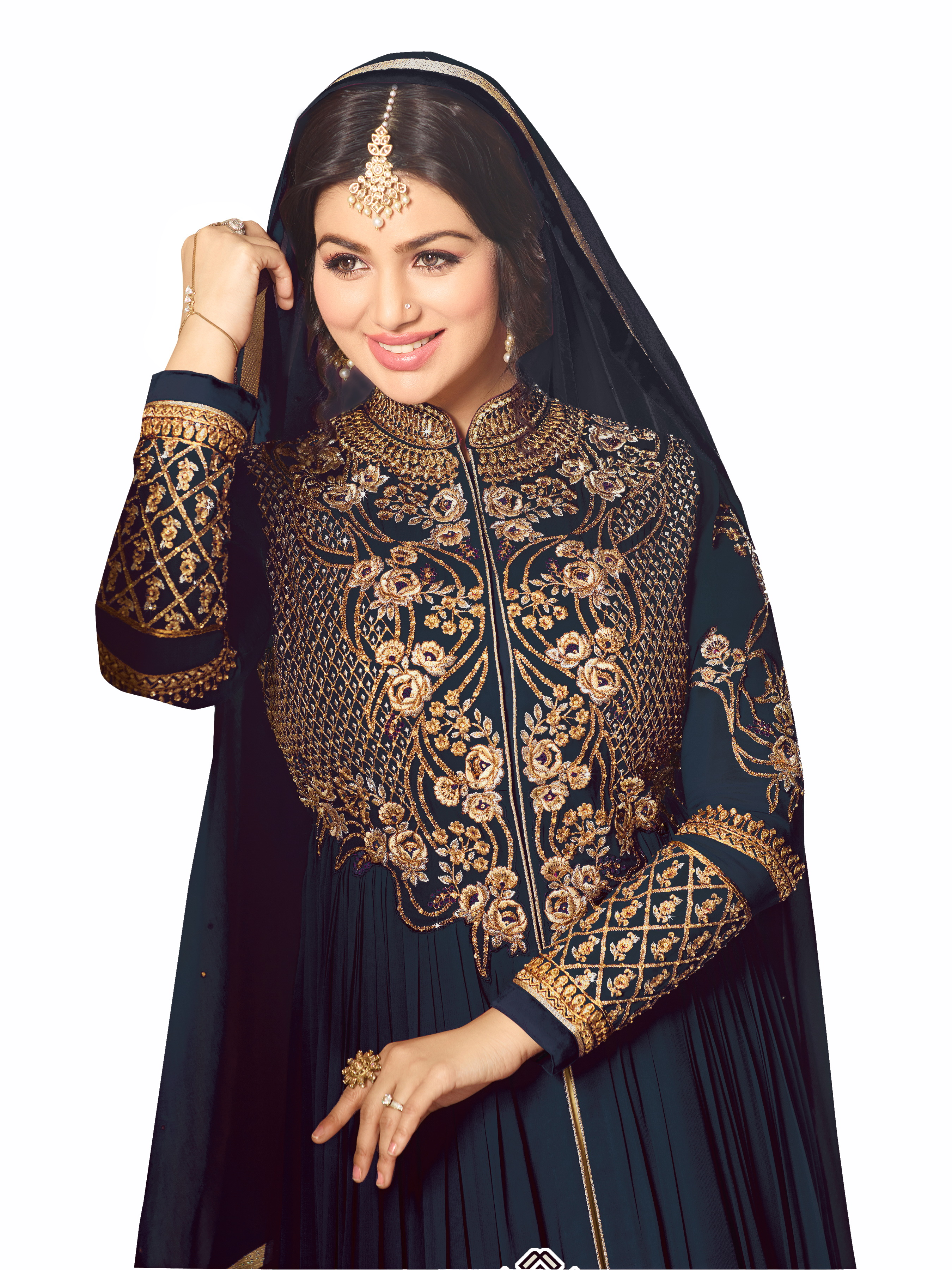 Ayesha TakiaDesigner Faux Georgette Gray Heavy Embroidered Salwar Suit