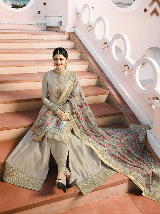 Prachi Desai designer  Chennai Silk Gray Heavy Embroidered Salwar Suit