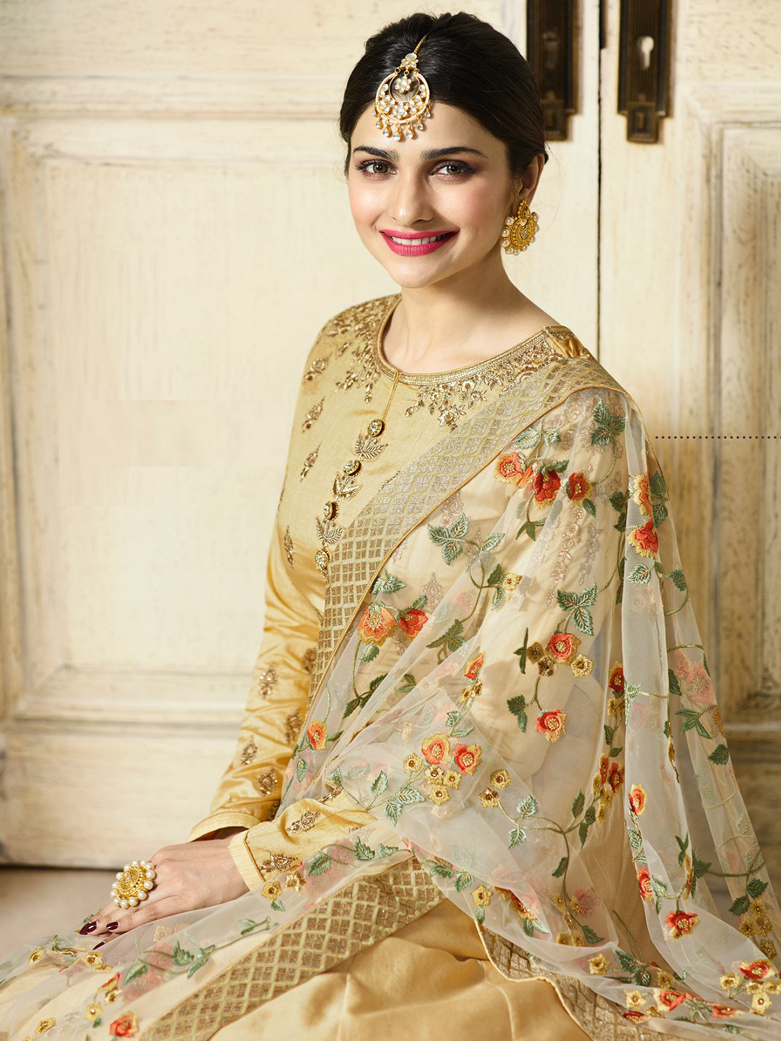 Prachi Desai Designer Faux Georgette Beige Heavy Embroidered Salwar Suit