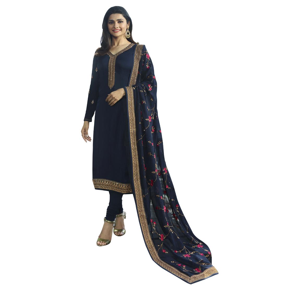 Prachi Desai Peach Georgette Churidar Suit With santoon Dupatta