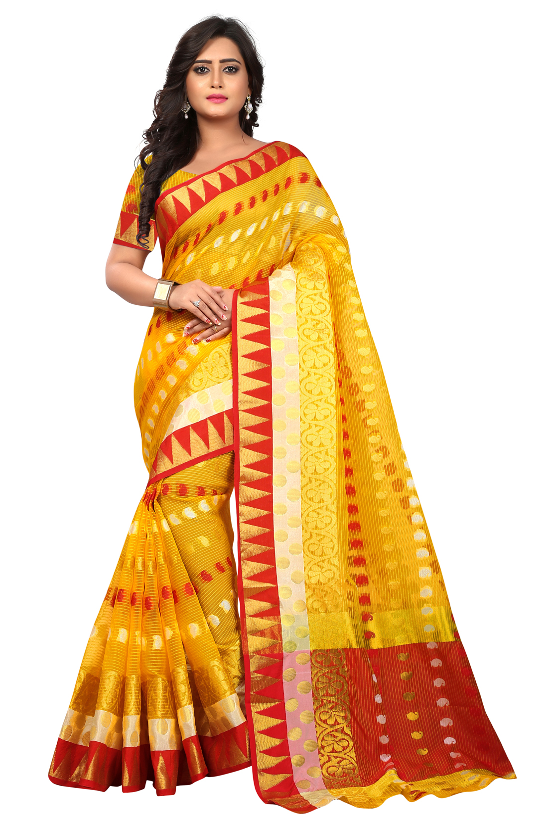 Latest Yellow Jacquard Saree With Blouse
