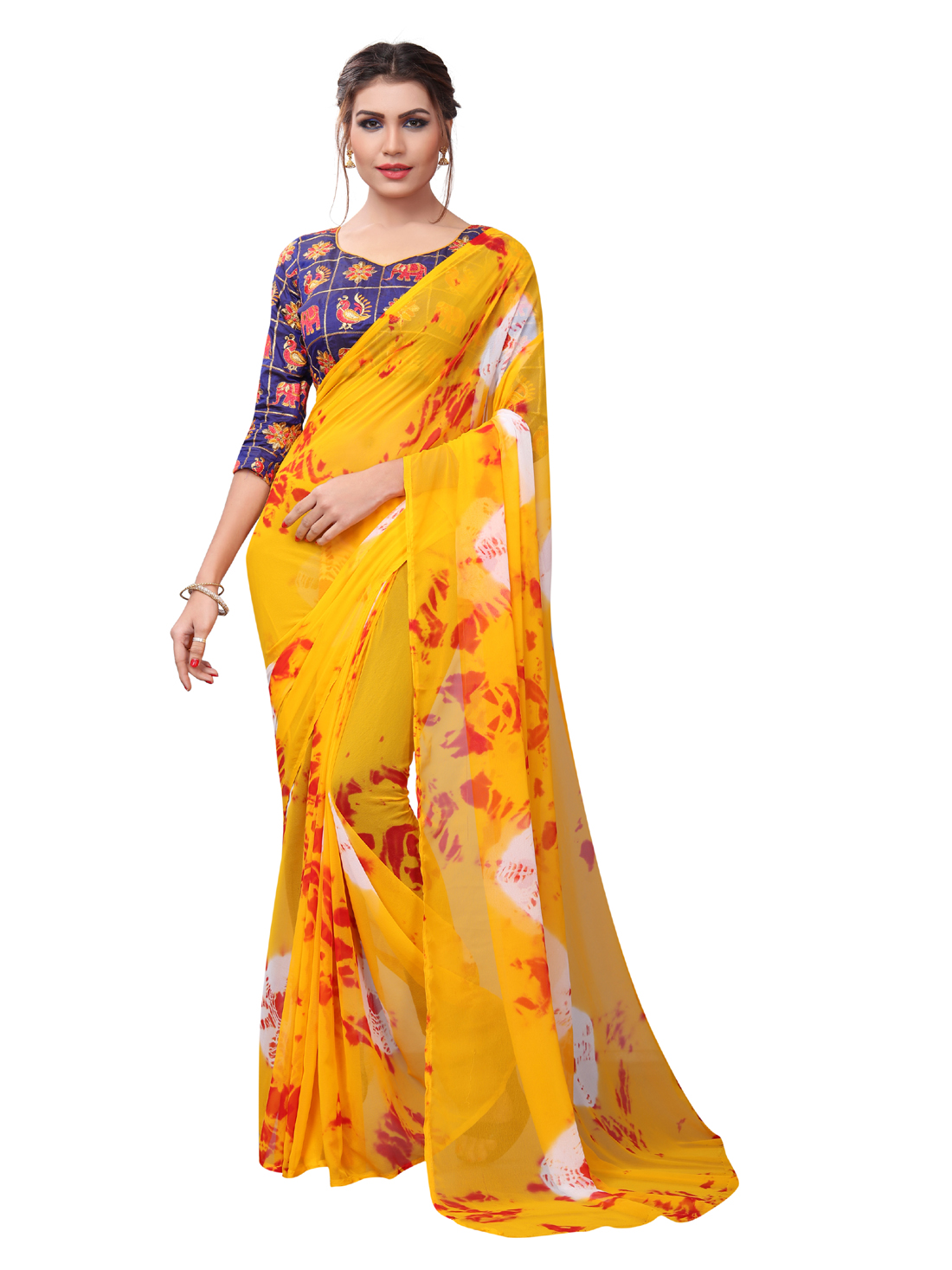 Latest Yellow And Purple Georgette Printed Saree