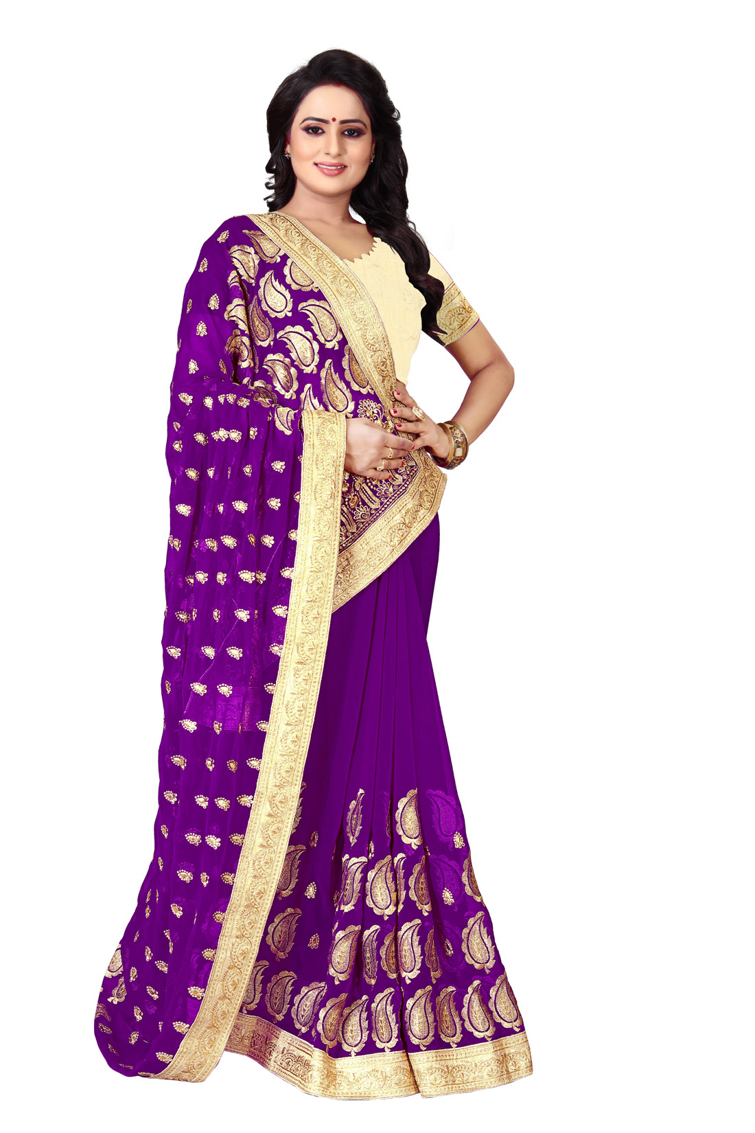Latest Purple Embroidered Silk Saree 2019