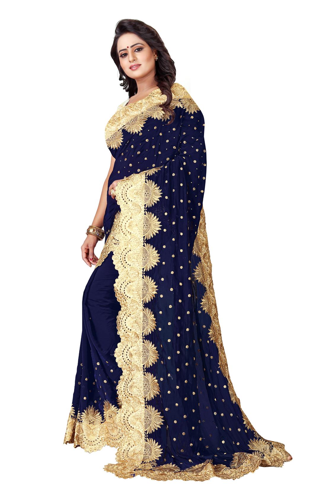 Latest Blue Embroidered Silk Saree 2020