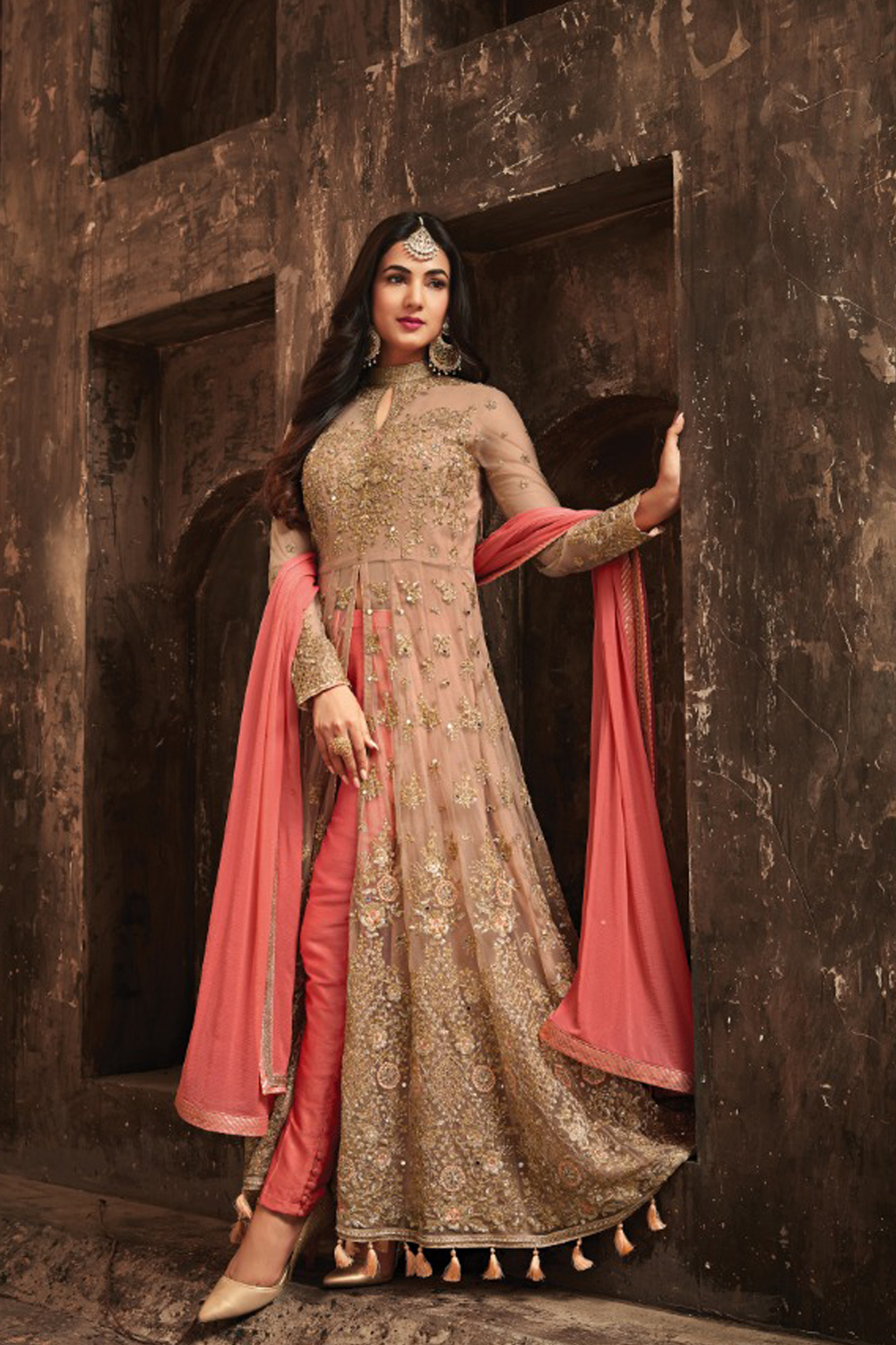 Sonal Chauhan Pink With Cream Net Top Heavy Designer Suit