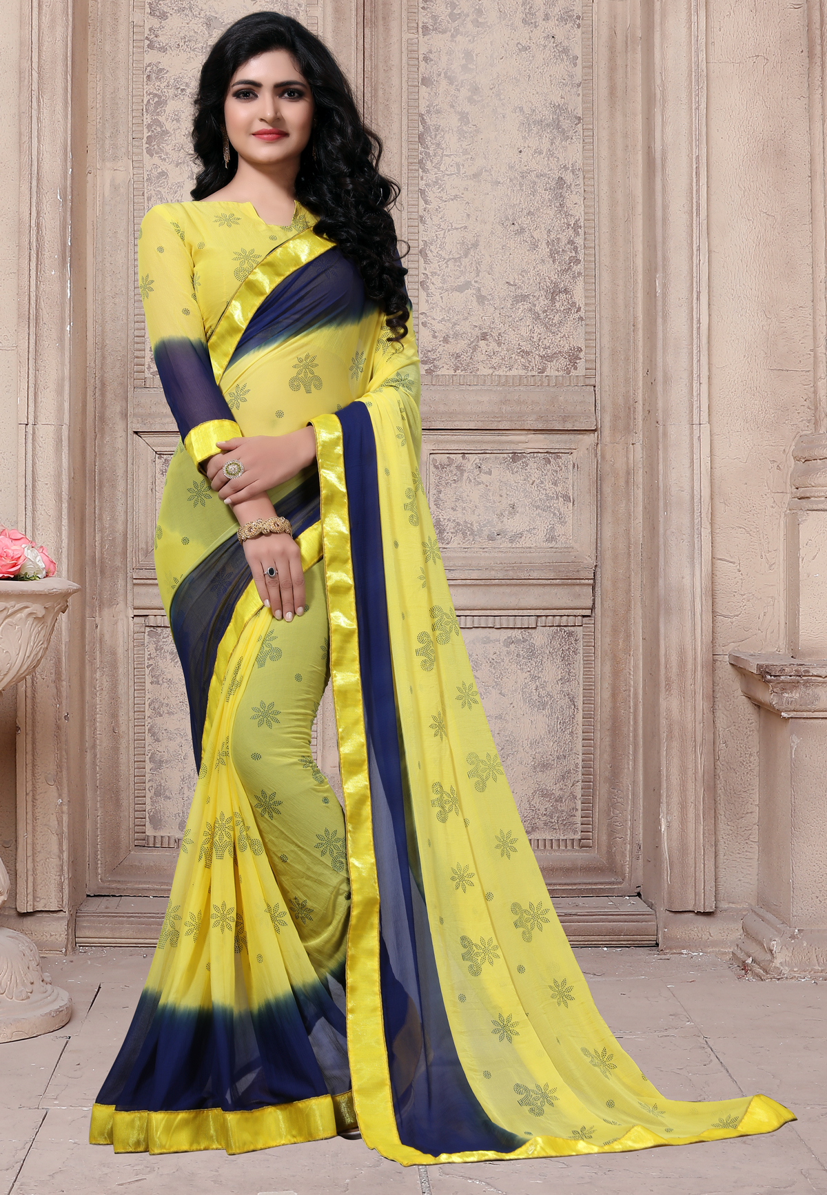 Designer Yellow Georgette Printed saree