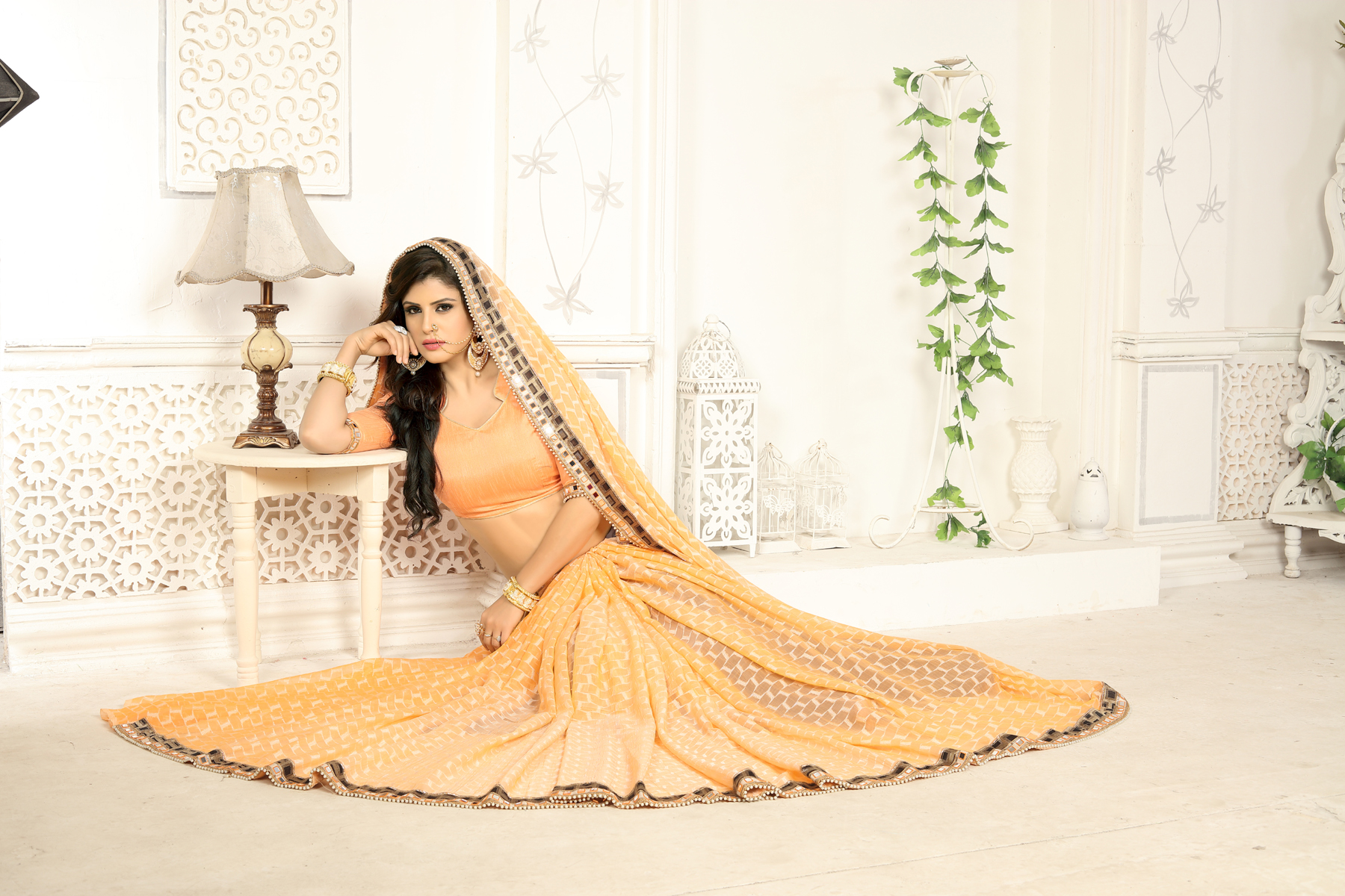 Designer Yellow Softy Jacquard Printed saree