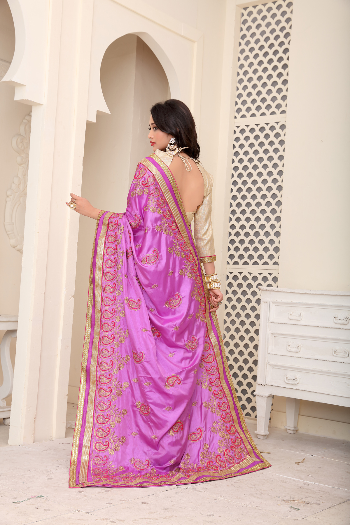 Designer Purple Silk Printed saree