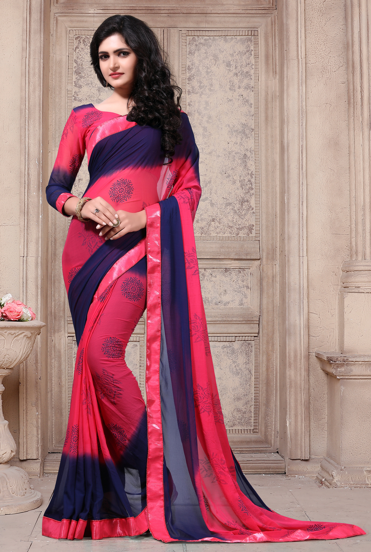 Designer Red Georgette Printed Saree
