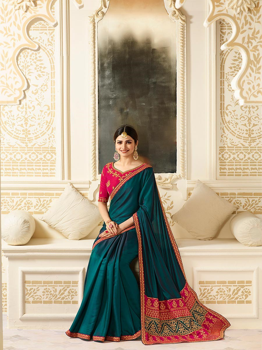 Embroidered Border Satin Saree in Teal Blue