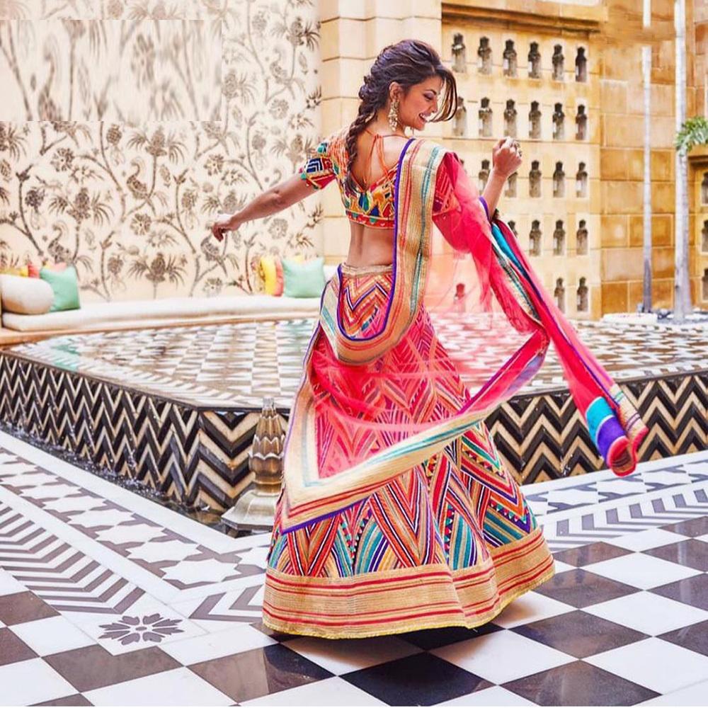 Jacqueline Bollywood Taffeta Printed Lehenga Choli