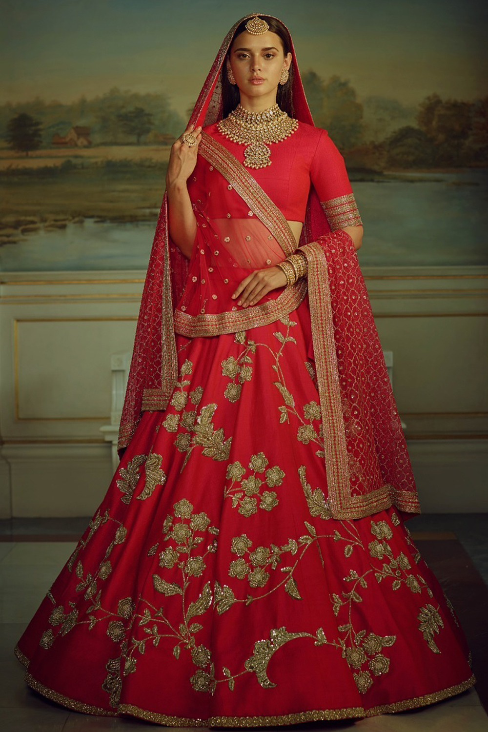 Designer Red Color  Malai Satin  Wedding,Party,Reception Embroidery Lehenga