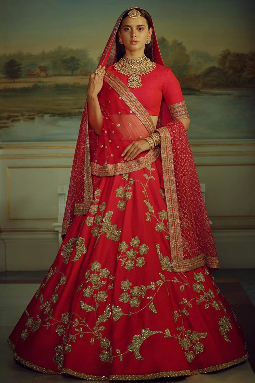 Designer Red Color Malai Satin Wedding,Party,Reception Embroidery Lehenga