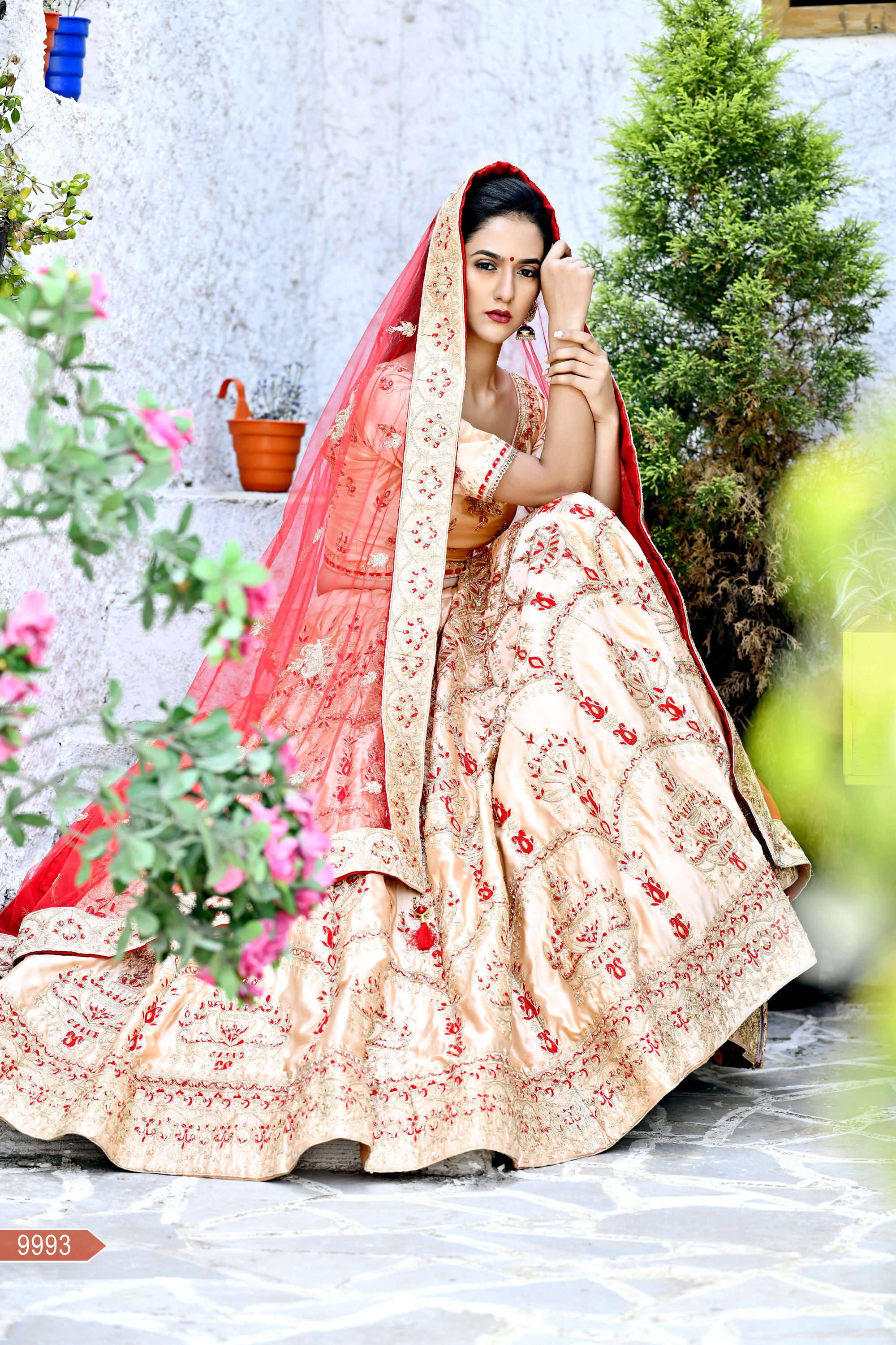 Gorgeous Peach Color Malai Satin Embroidery Work Bridal Wedding Lehenga Choli