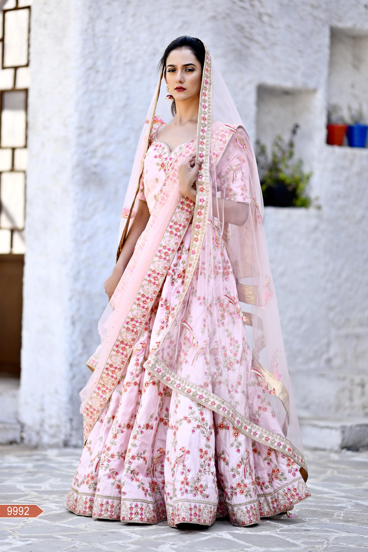 Flamingo Pink Color Chennai silk Havy embroidery Work Bridal Wedding Lehenga Choli
