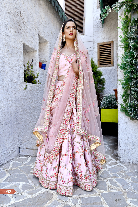 Flamingo Pink Color Chennai Silk Heavy Embroidery Work Bridal Wedding Lehenga Choli
