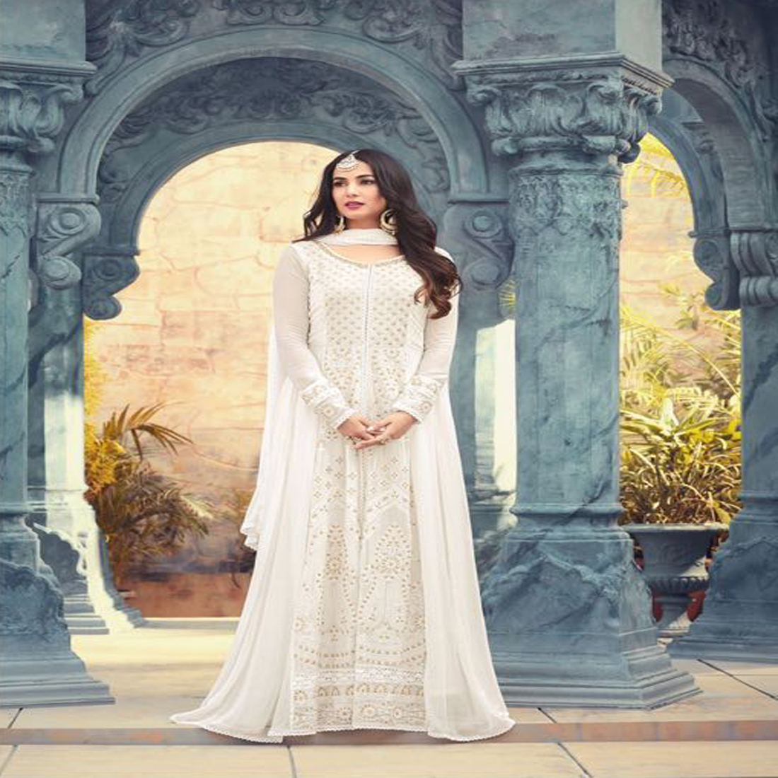 Sonal Chauhan Style White Partywear Anarkali  Suit