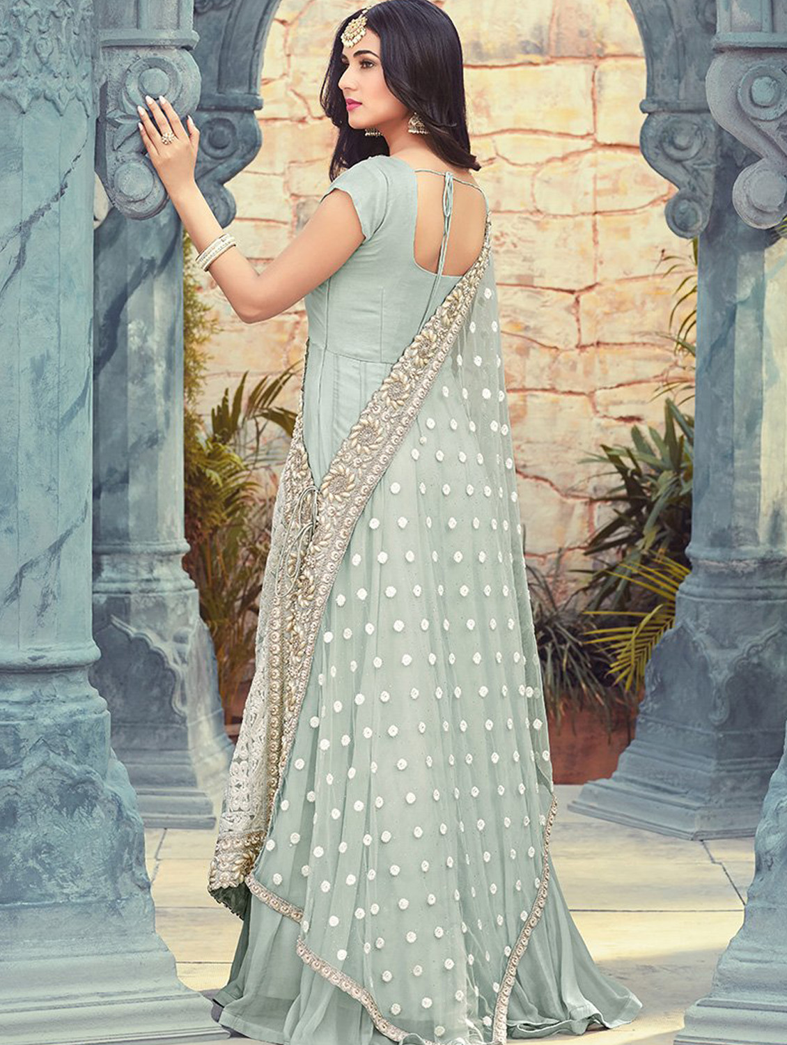 Sonal Chauhan Style Gray Partywear Anarkali Suit