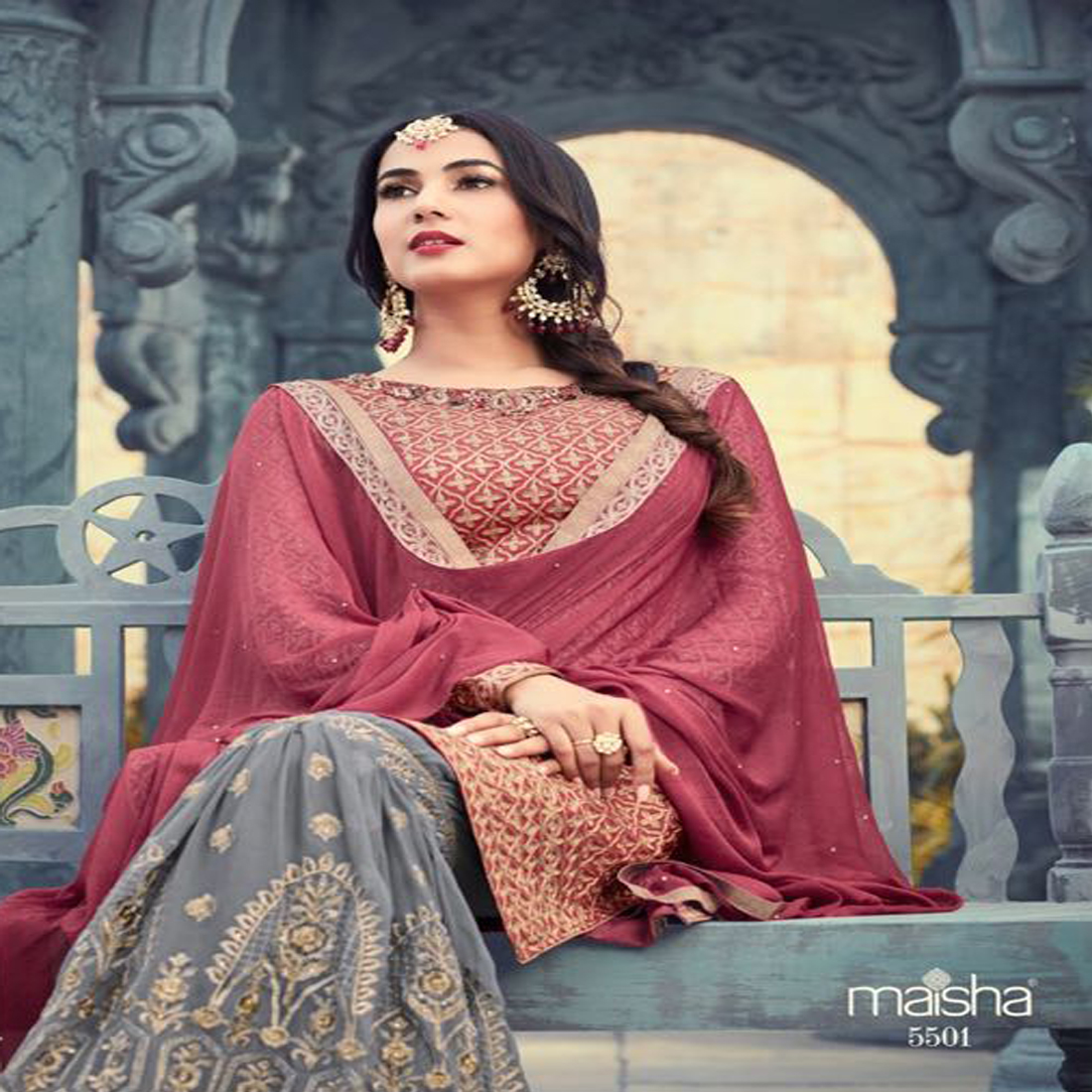 Sonal Chauhan Style Maroon Partywear Plazzo Suit