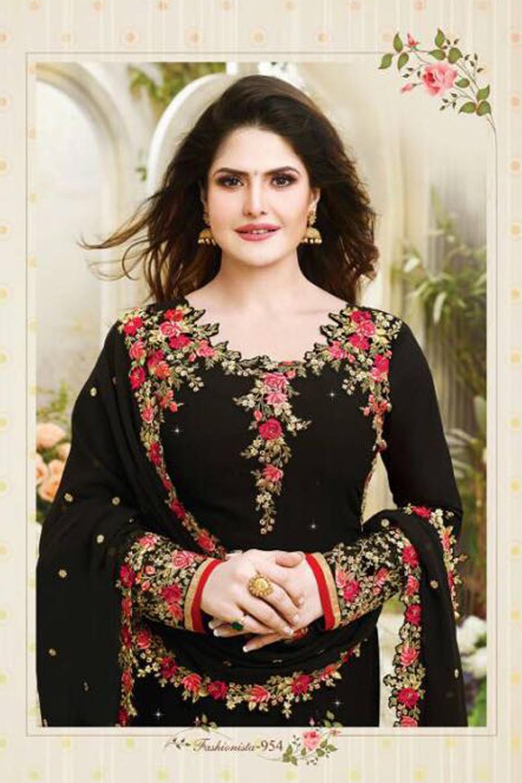 Zareen Khan Black Georjett Embroidred Party Wear Salwar Suit