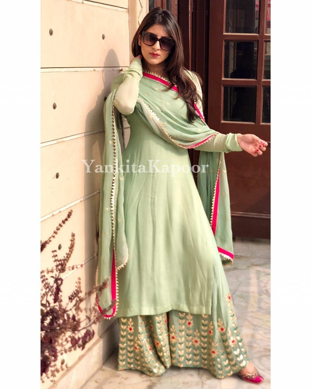 Designer Georgette Pista Green Color Party Wear Top With Fully Embroidered Plazzo Suit
