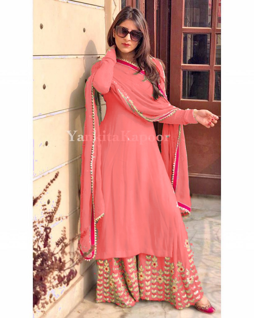 Designer Georgette Top Light Pink With Fully Embroidered Stitch Plazzo Set