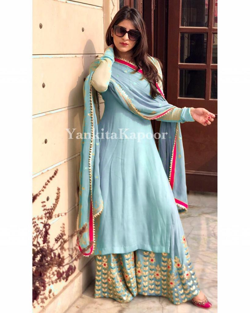 Designer Georgette Top Sky Blue With Fully Embroidered Stitch Plazzo Set