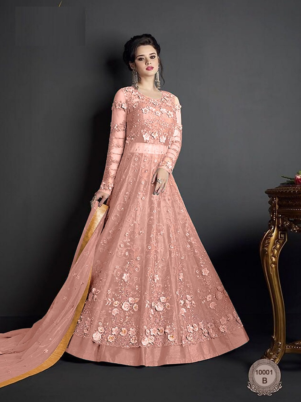 Light Orange Heavy Net With Embroidered Anarkali Suit