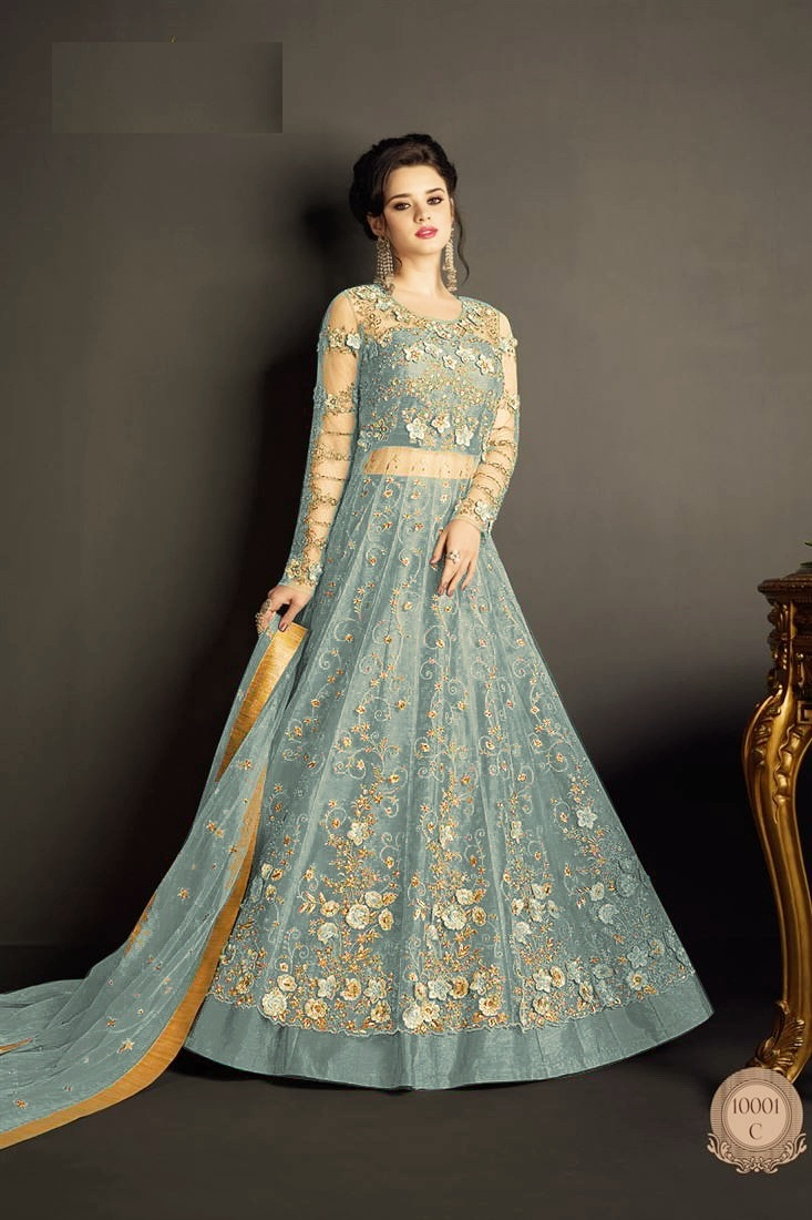 Sky Blue Heavy Net With Embroidered Anarkali Suit
