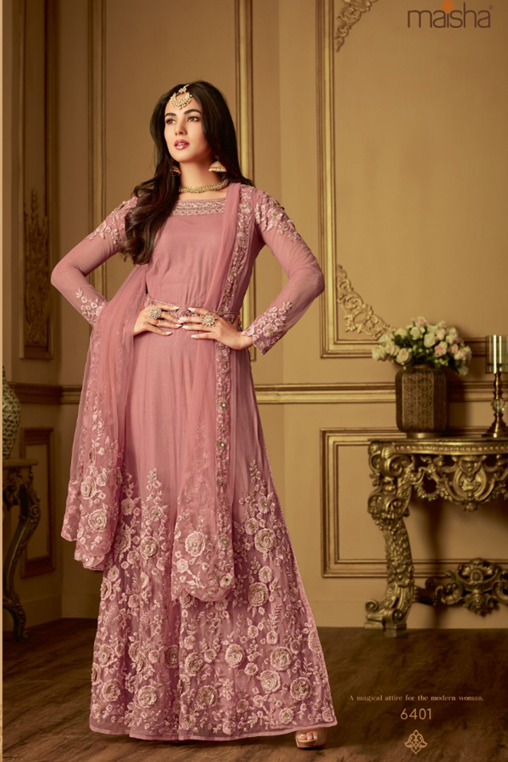Pink Heavy Net With Embroidered Straight Long Anarkali Suit