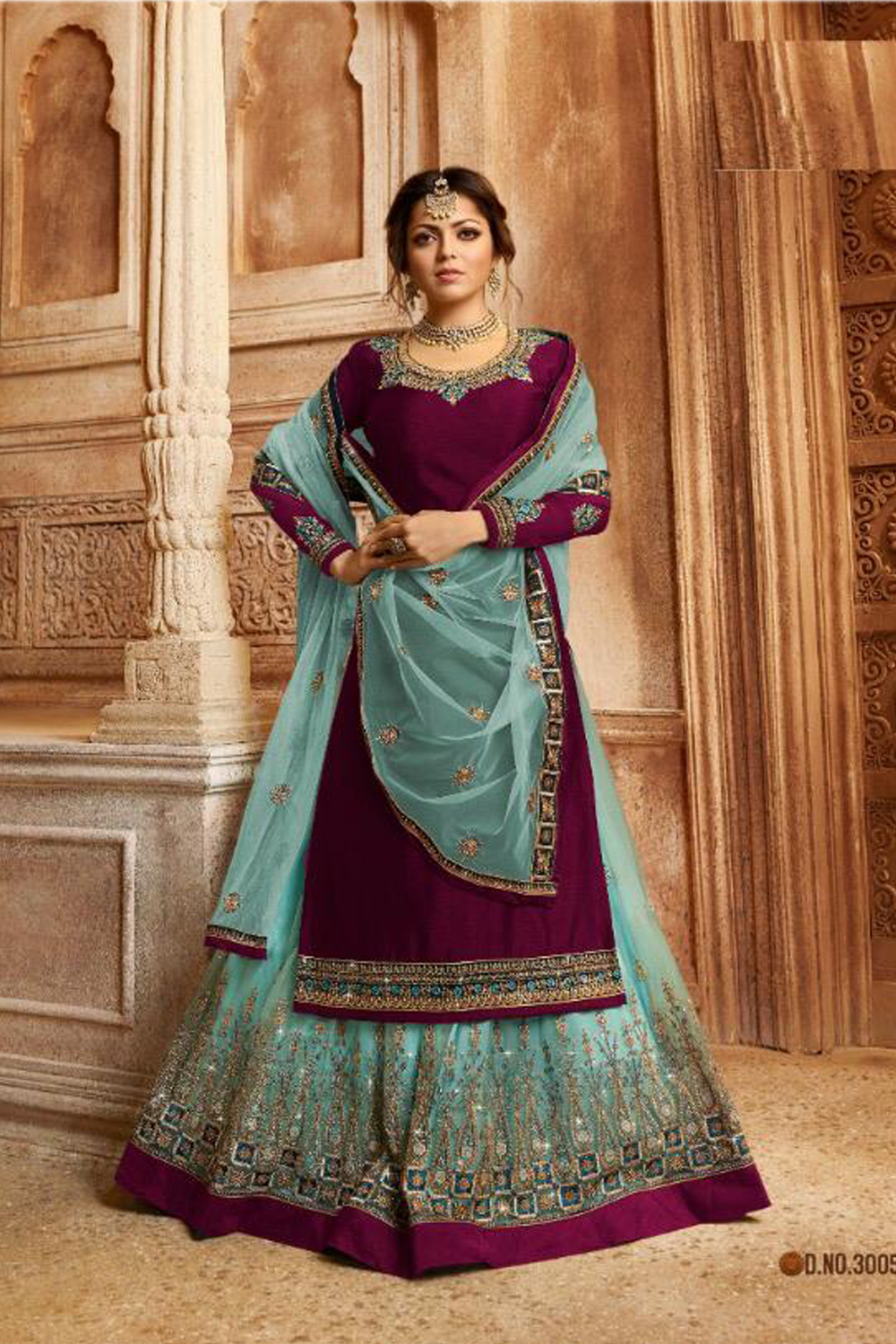 Purple Color Georgette Semi Stitched Sharara Suit