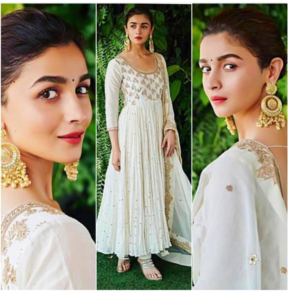 Alia Bhatt White Georgette With Coding  Work Salwar Suit