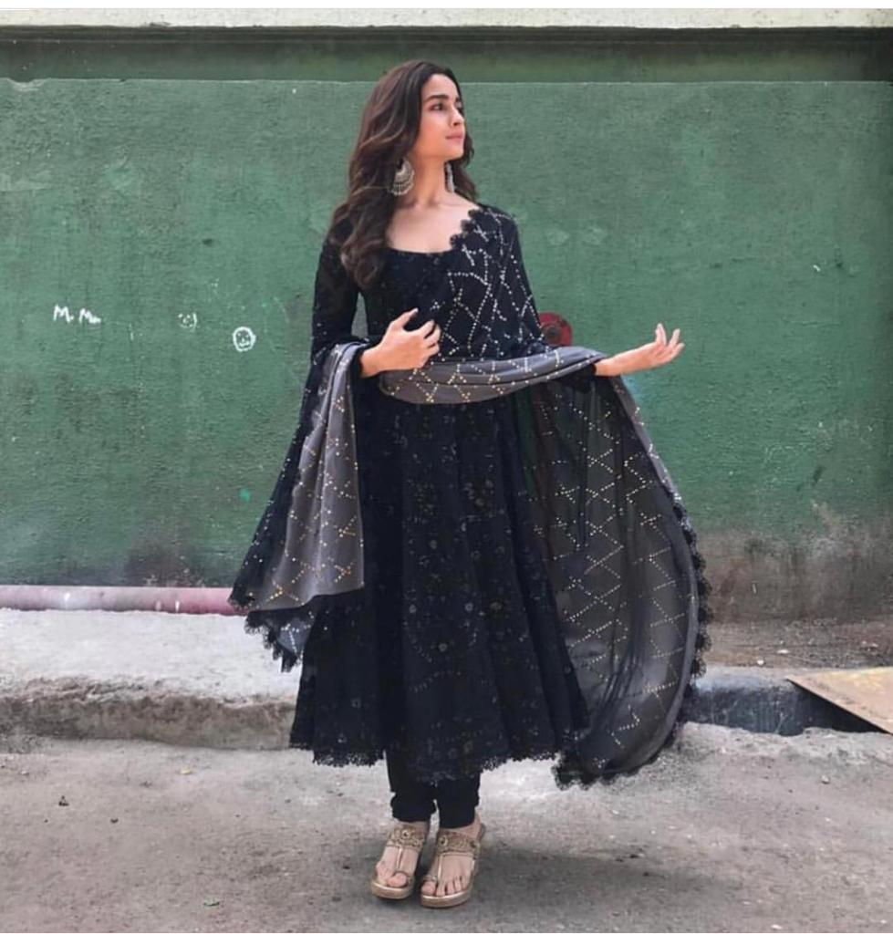 Alia Bhatt  Black Georgette With Embroidery  Work Suit