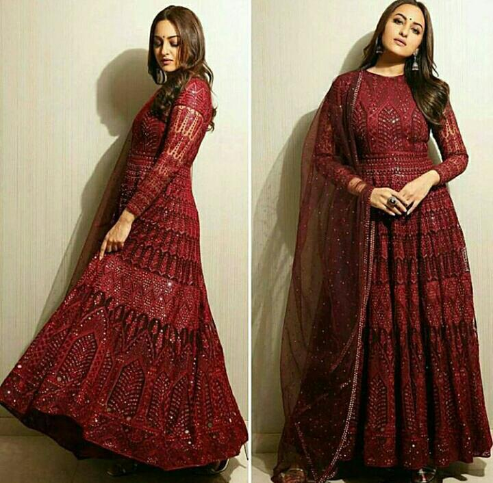 designer Red Georgette Latest Indian long gown