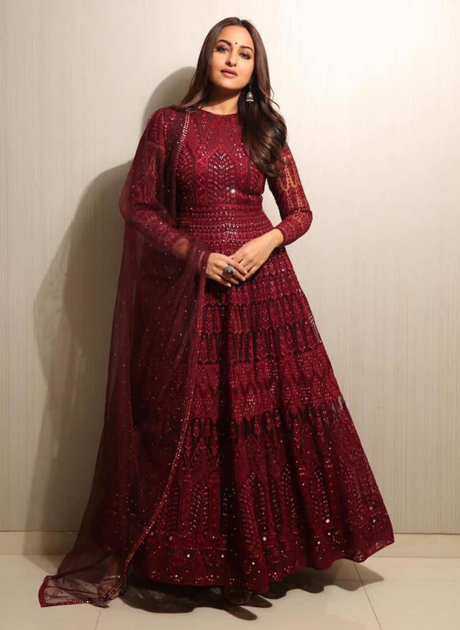 Sonakshi Sinha Red Georgette Party Wear Suit