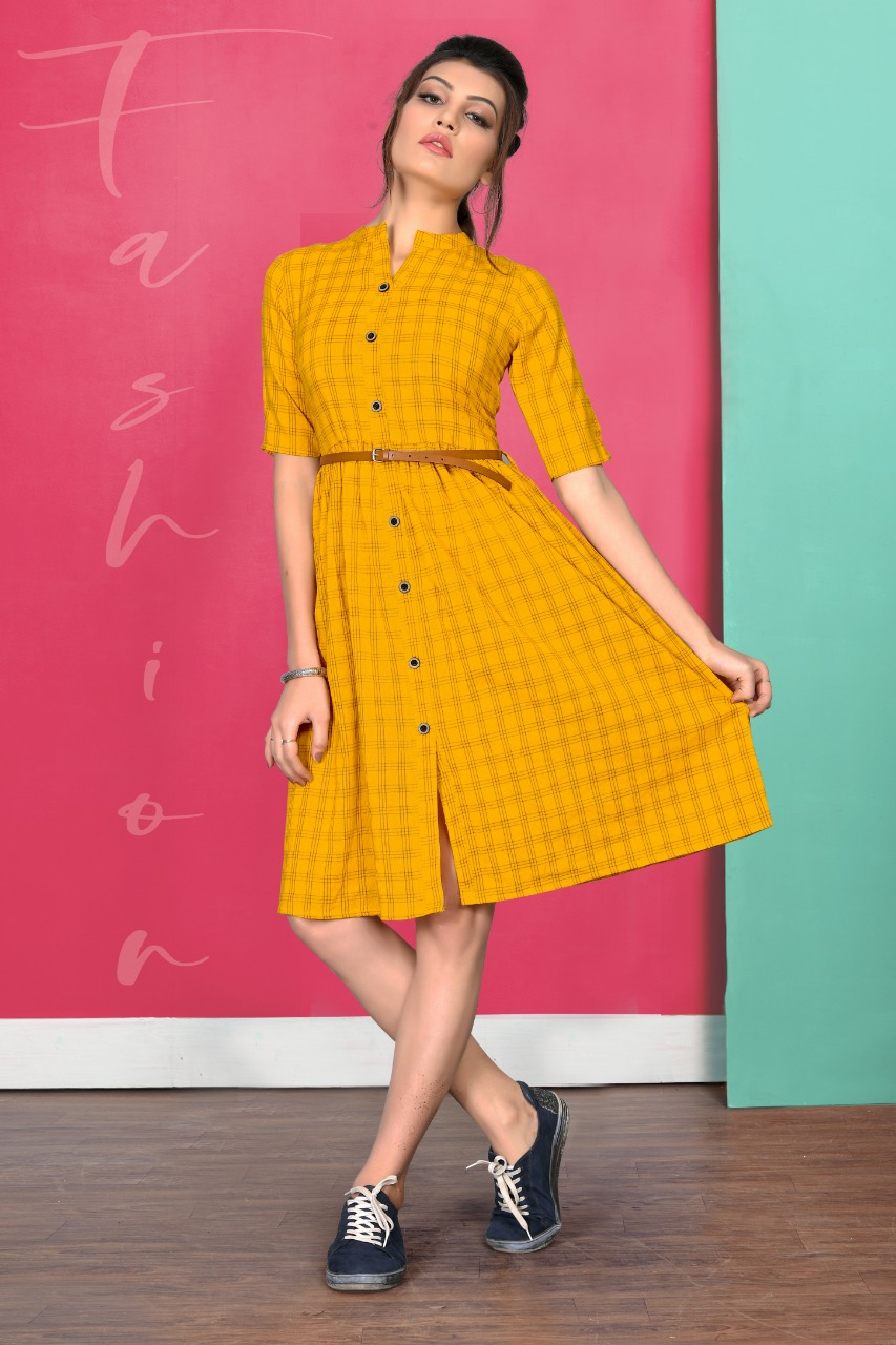 Impressive Yellow Colored Cotton Kurti With Belt