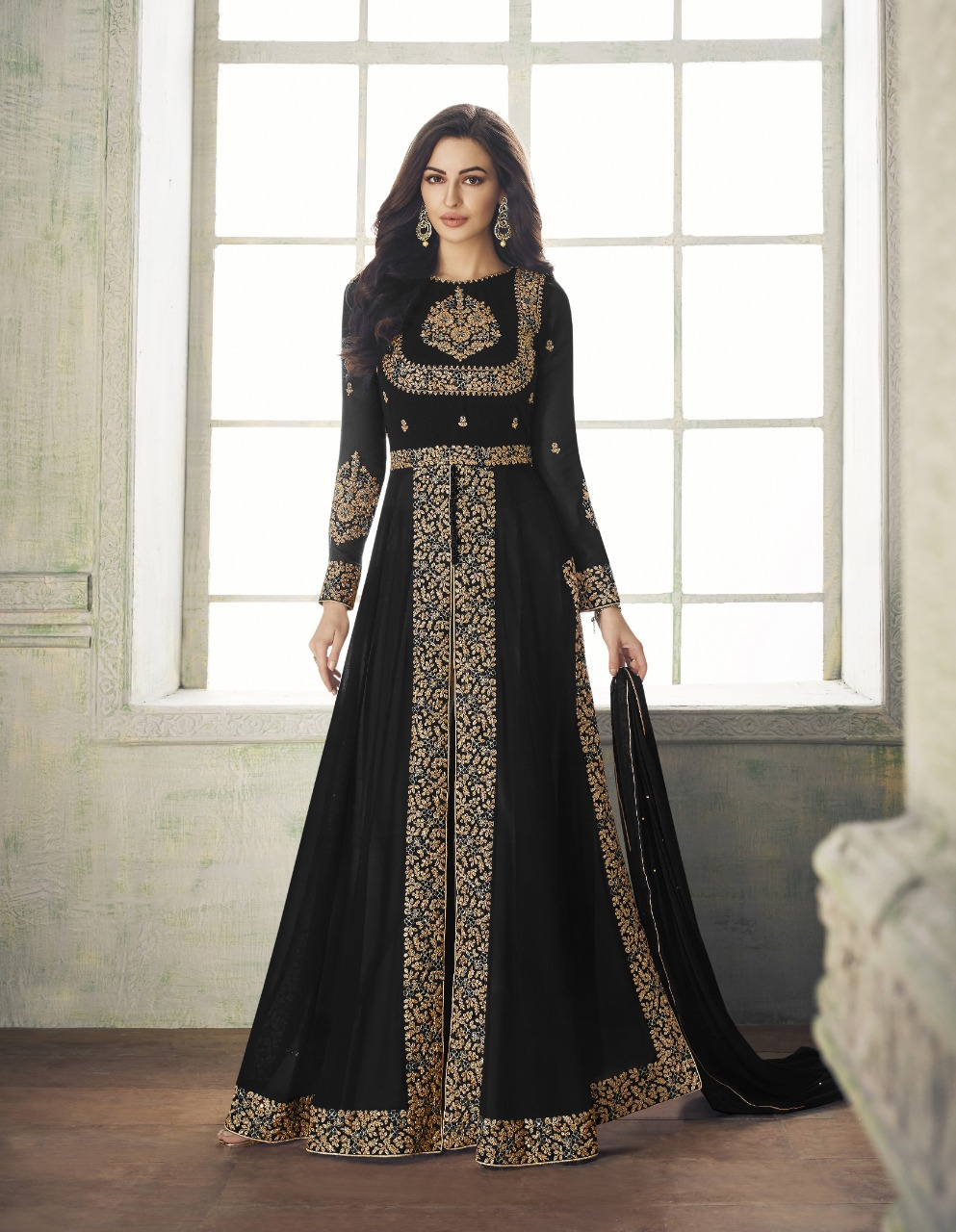 Breathtaking  Black Color Party Wear Embroidered Georgette Anarkali Suit