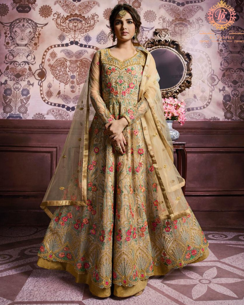 Beautiful  Net Beige Color Embroidered Party Wear Suit