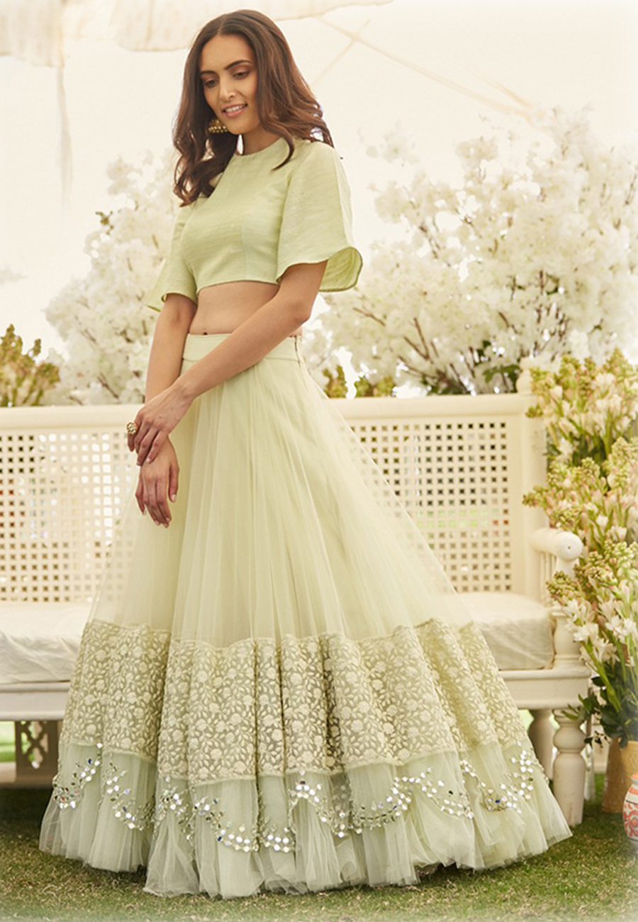 Beautiful Pastel Green Latest Ruffle Lehenga Choli