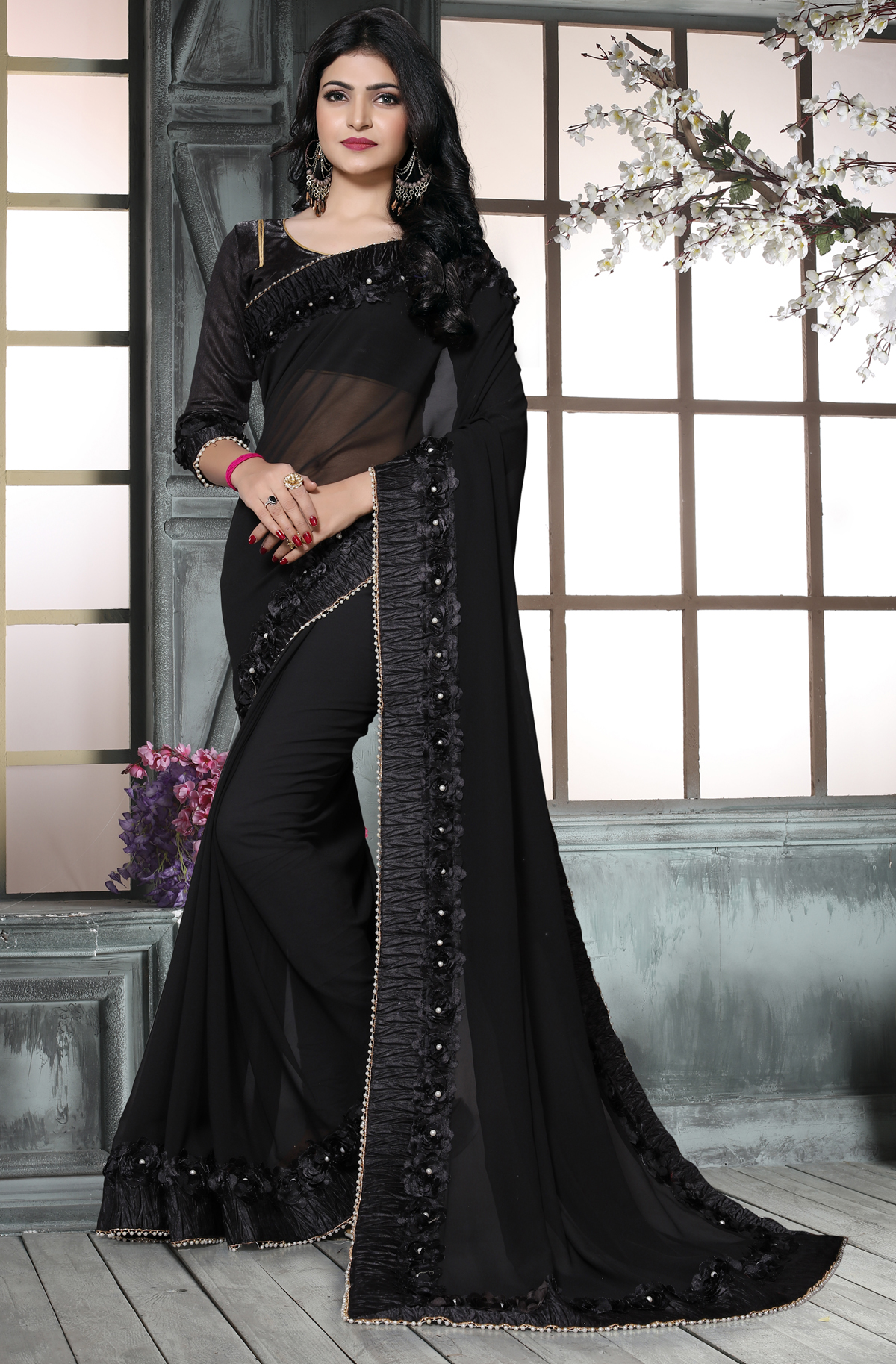 Gleaming Black color Casual Flower Lace saree
