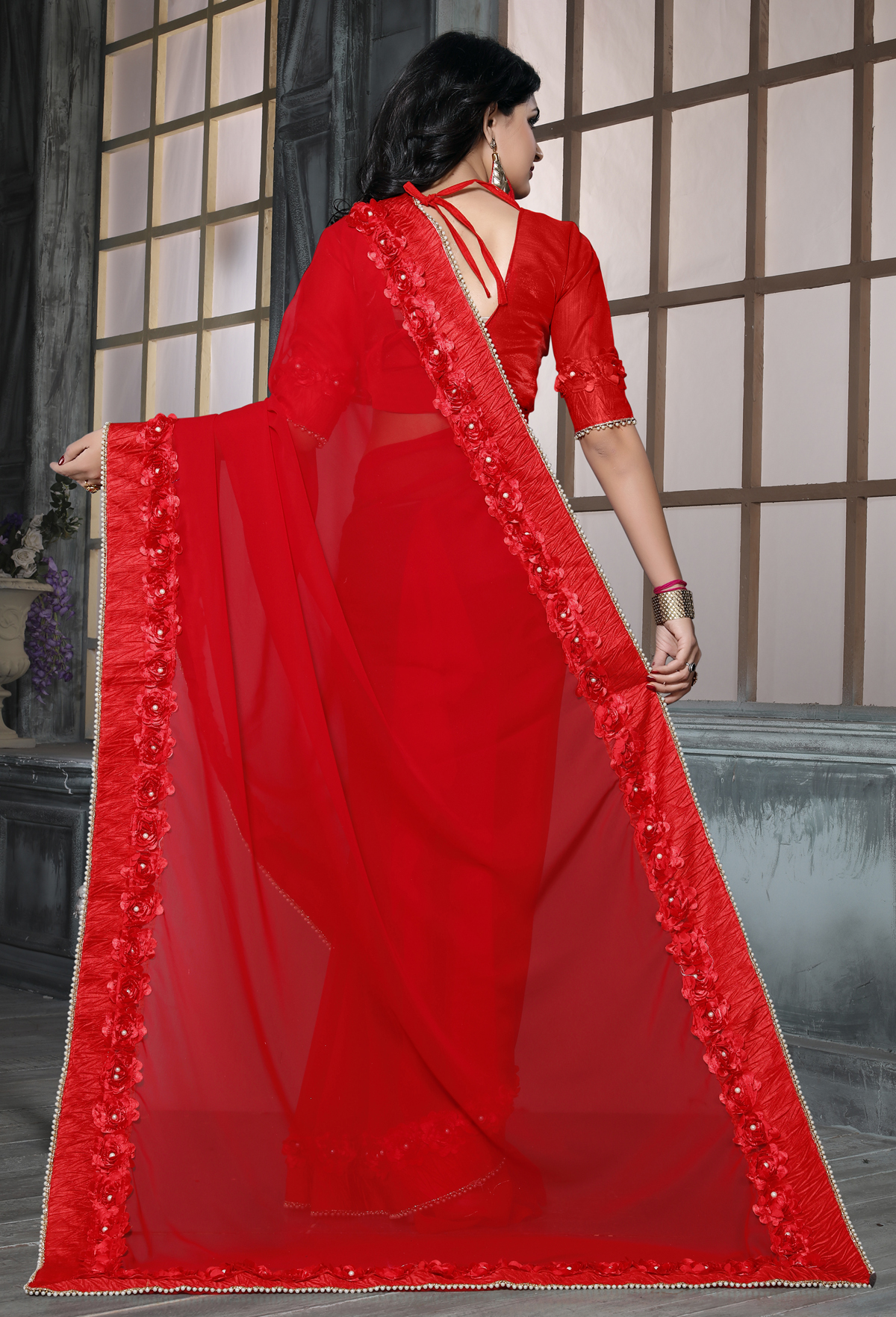 Stunning Red color Casual Flower Lace saree