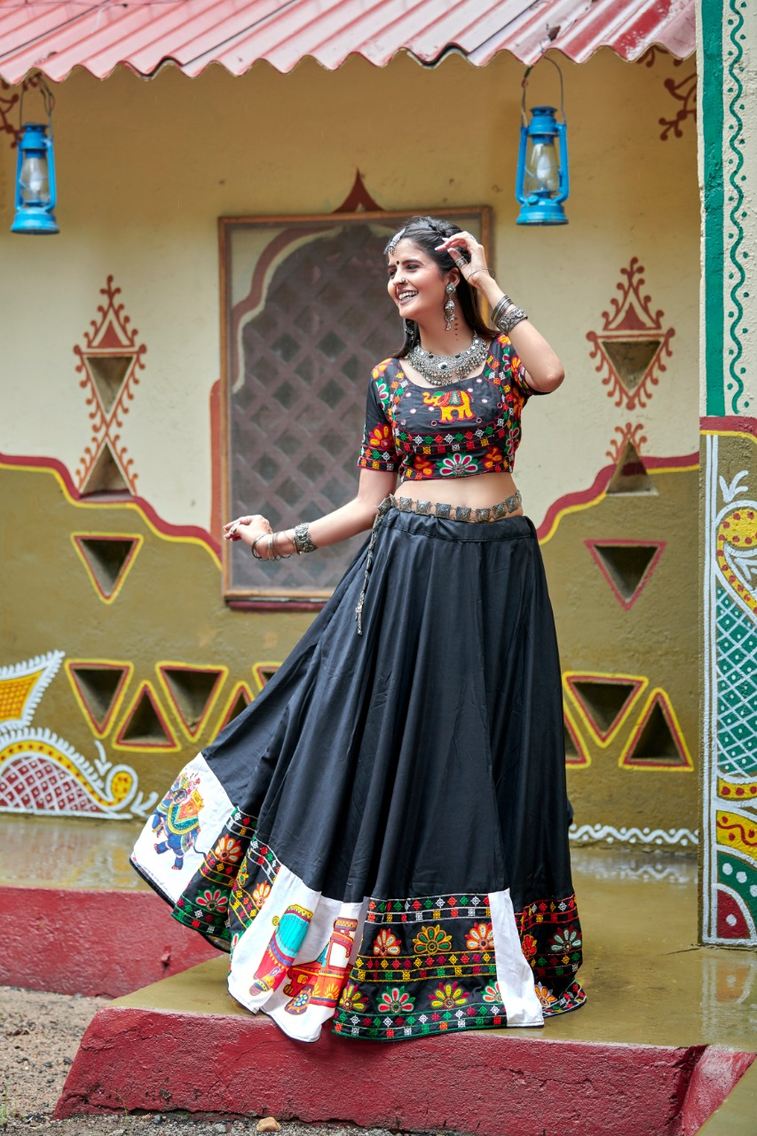 Breathtaking Gigital Print Navratri Special Black Color Lehenga choli