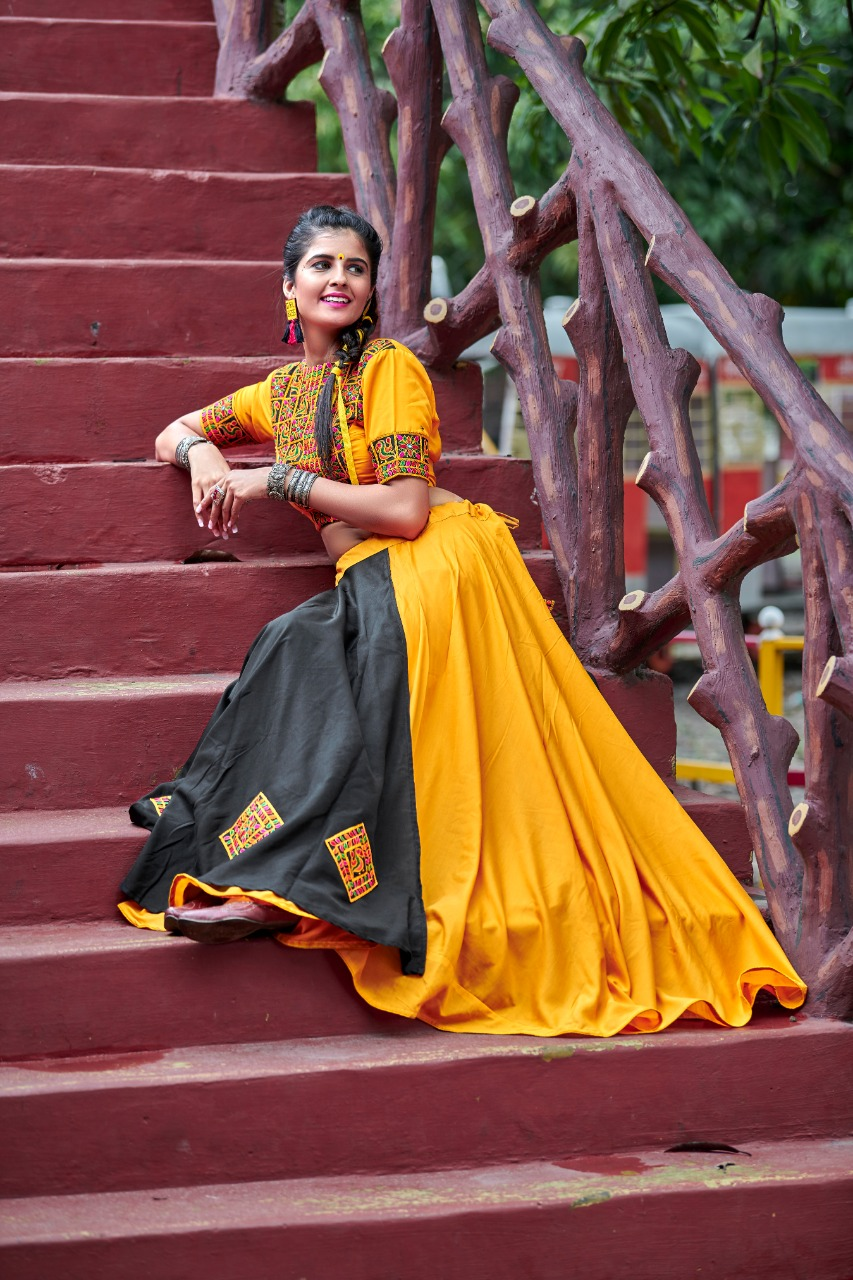 Traditional Garba Function Yellow And Black Color Cotton Chaniya Choli