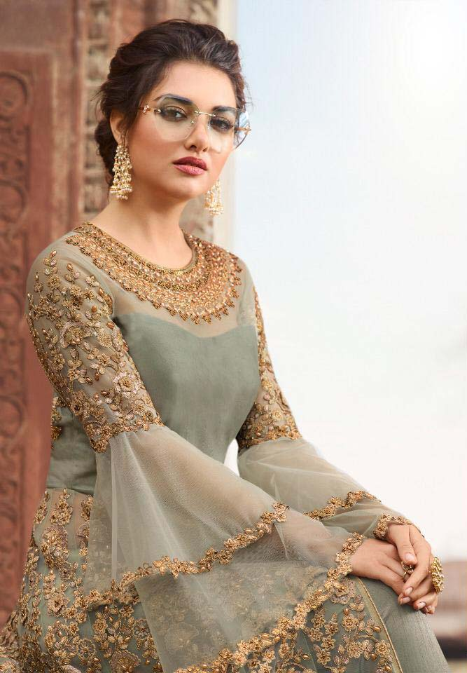 Sophisticated Light Pista Color Party wear Embroidery cording Suit