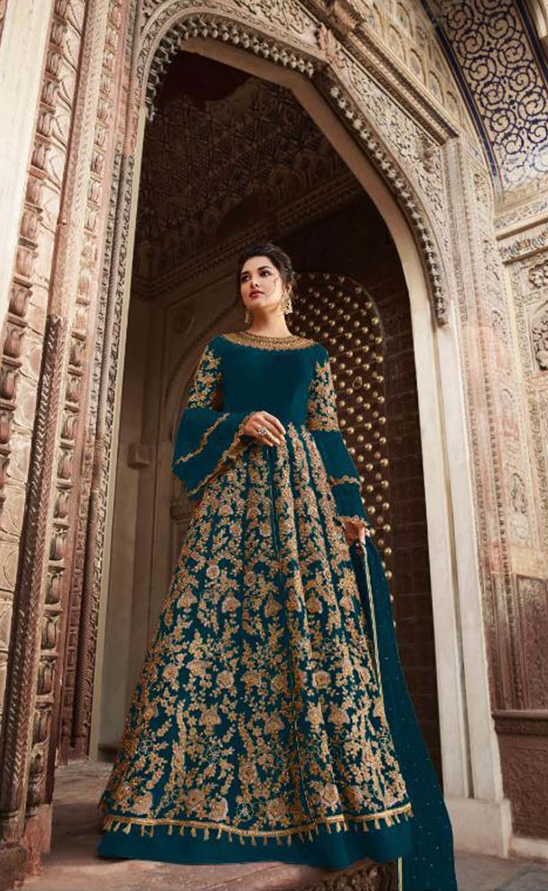 Party wear Teal Blue Color Embroidery cording Suit